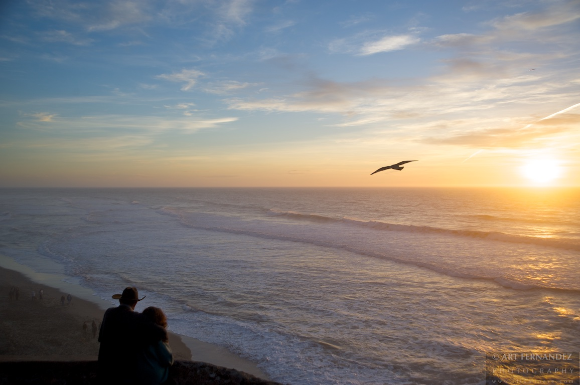 Elderly Couple & Sunset, Ocean Beach